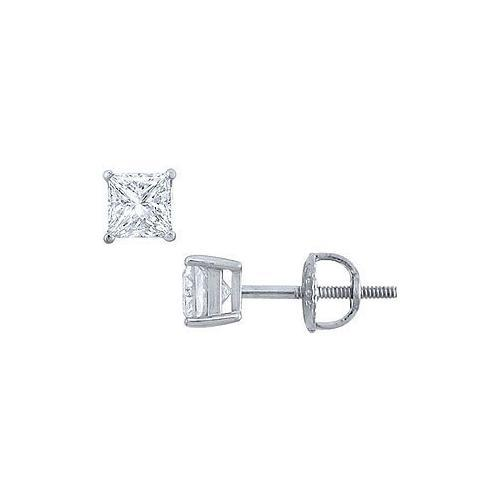 Platinum : Princess Cut Diamond Stud Earrings  0.50 CT. TW.