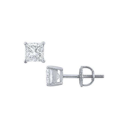 Platinum : Princess Cut Diamond Stud Earrings  1.00 CT. TW.