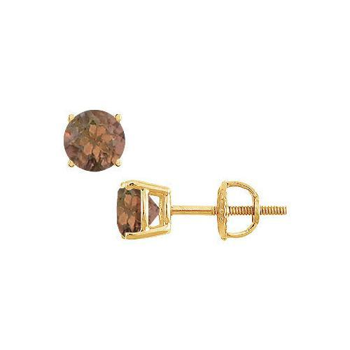 Smoky Topaz Stud Earrings : 14K Yellow Gold - 2.00 CT TGW