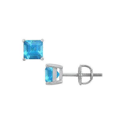 Blue Topaz Stud Earrings : 14K White Gold - 2.00 CT TGW