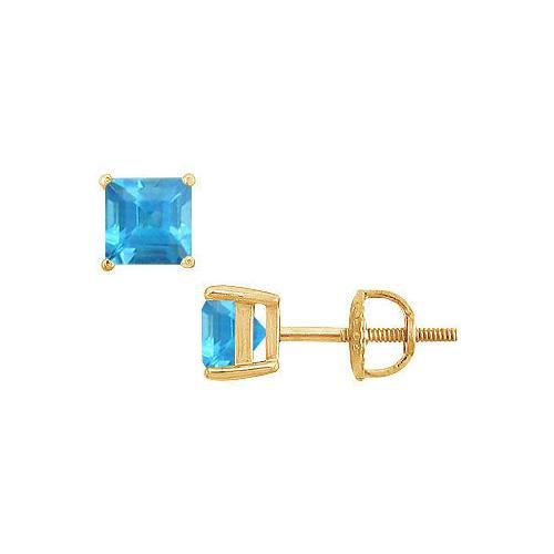 Blue Topaz Stud Earrings : 14K Yellow Gold - 2.00 CT TGW