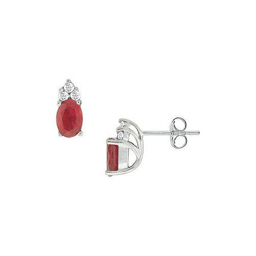Ruby and Diamond Earrings : 14K White Gold - 1.00 CT TGW
