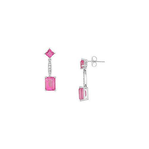 Pink Topaz and Diamond Earrings : 14K White Gold - 3.00 CT TGW