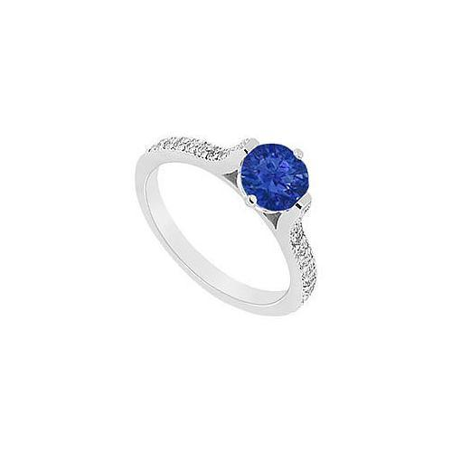Sapphire and Diamond Engagement Ring : 14K White Gold - 0.75 CT TGW