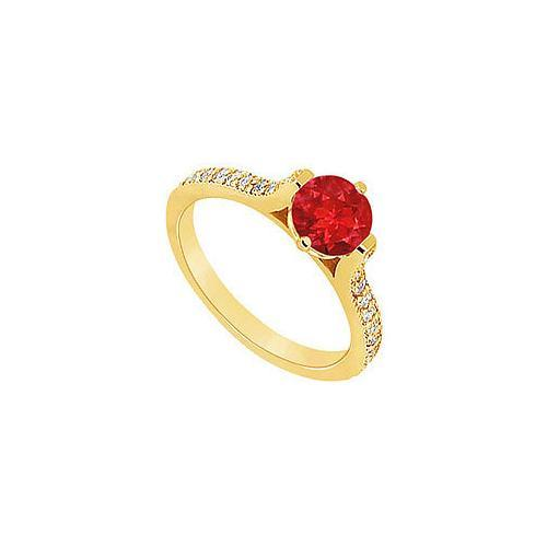 Ruby and Diamond Engagement Ring : 14K Yellow Gold - 0.75 CT TGW