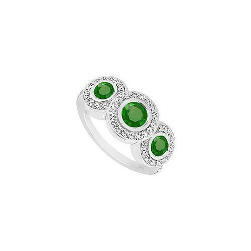 Emerald and Diamond Engagement Ring : 14K White Gold - 0.66 CT TGW