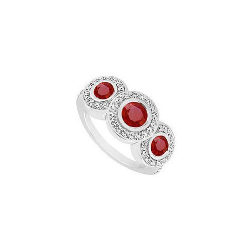 Ruby and Diamond Engagement Ring : 14K White Gold - 0.66 CT TGW