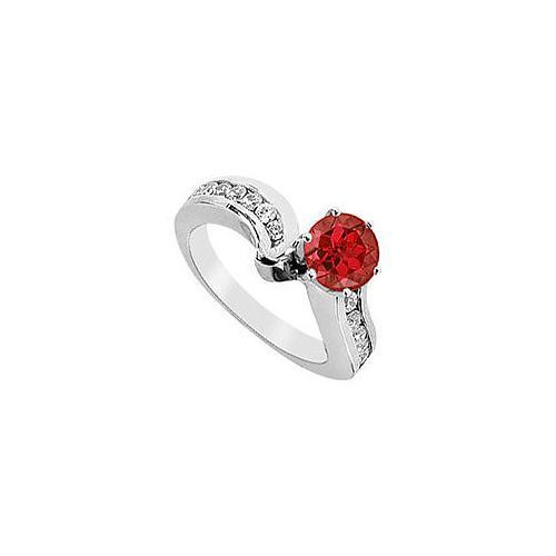 Ruby and Diamond Engagement Ring : 14K White Gold - 1.50 CT TGW