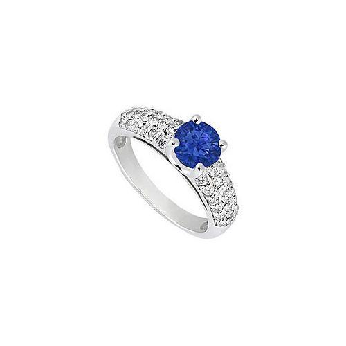 Sapphire and Diamond Engagement Ring : 14K White Gold - 1.50 TGW