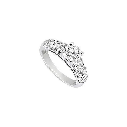 Diamond Engagement Ring : 18K White Gold - 1.25 CT Diamonds
