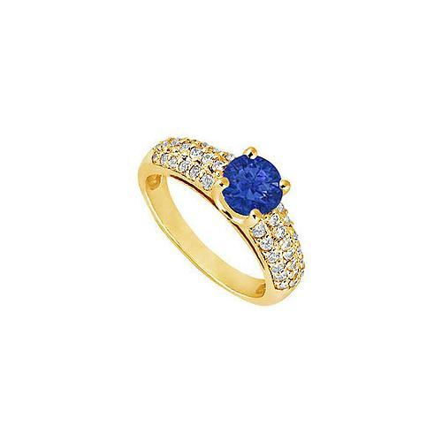 Sapphire and Diamond Engagement Ring : 14K Yellow Gold - 1.50 TGW
