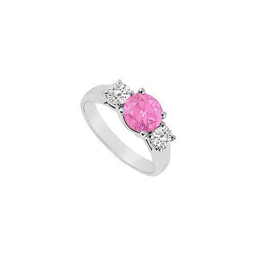 Three Stone Pink Sapphire and Diamond Ring : 14K White Gold - 0.75 TGW