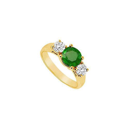Three Stone Emerald and Diamond Ring : 14K Yellow Gold - 1.00 CT TGW