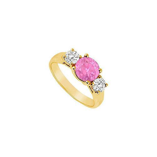 Three Stone Pink Sapphire and Diamond Ring : 14K Yellow Gold - 1.00 TGW