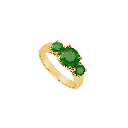 Three Stone Emerald Ring : 14K Yellow Gold - 1.00 CT TGW