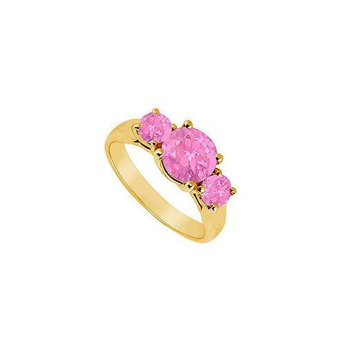 Three Stone Pink Sapphire Ring : 14K Yellow Gold - 1.25 CT TGW