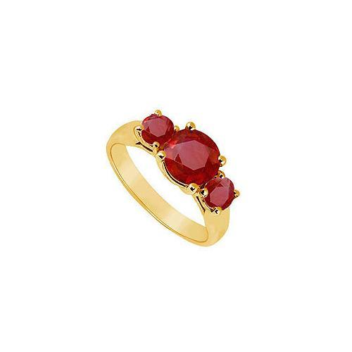 Three Stone Ruby Ring : 14K Yellow Gold - 1.25 CT TGW