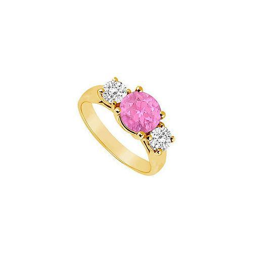 Three Stone Pink Sapphire and Diamond Ring : 14K Yellow Gold - 1.75 TGW
