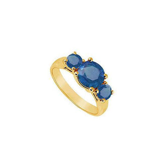 Three Stone Sapphire Ring : 14K Yellow Gold - 1.75 CT TGW