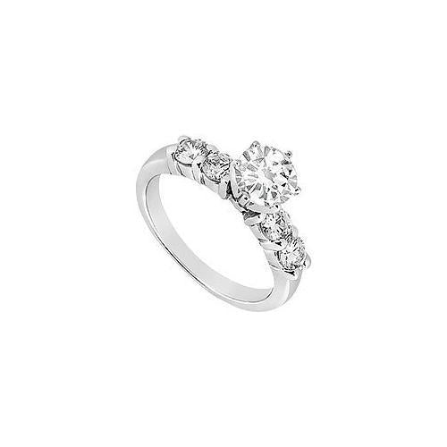 Diamond Engagement Ring : 14K White Gold - 0.75 CT Diamonds