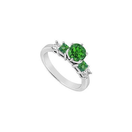 Diamond and Emerald Engagement Ring : 14K White Gold - 1.50 CT TGW