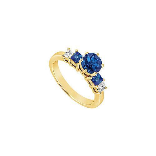 Diamond and Sapphire Engagement Ring : 14K Yellow Gold - 1.50 CT TGW