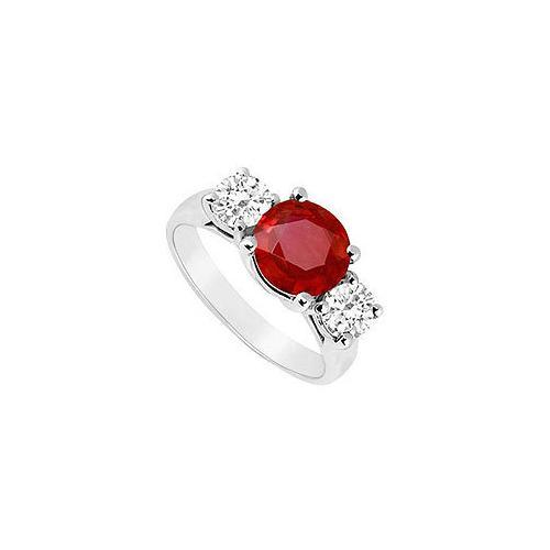 Three Stone Ruby and Diamond Ring : 14K White Gold - 2.50 CT TGW