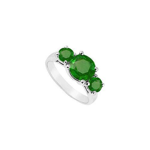 Three Stone Emerald Ring : 14K White Gold - 2.50 CT TGW