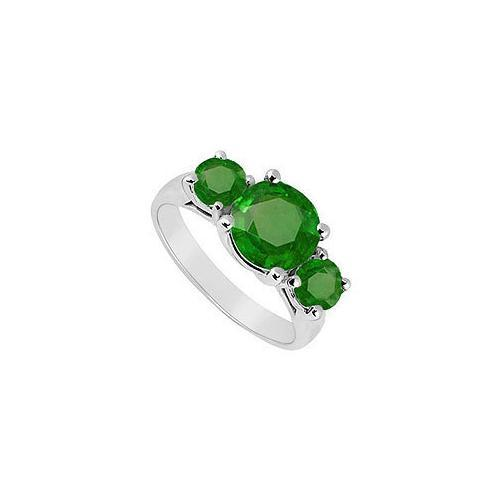 Three Stone Emerald Ring : 14K White Gold - 3.00 CT TGW