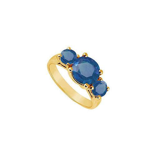Three Stone Sapphire Ring : 14K Yellow Gold - 3.00 CT TGW