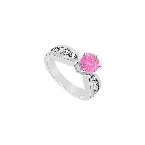 Pink Sapphire Ring : 14K White Gold - 1.75 CT TGW