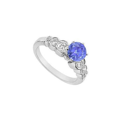 Tanzanite and Diamond Engagement Ring : 14K White Gold - 1.75 CT TGW