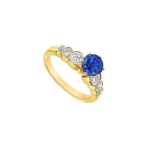 Sapphire and Diamond Engagement Ring : 14K Yellow Golld - 1.75 CT TGW