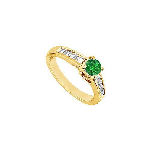 Emerald and Diamond Engagement Ring : 14K Yellow Gold - 1.00 CT TGW