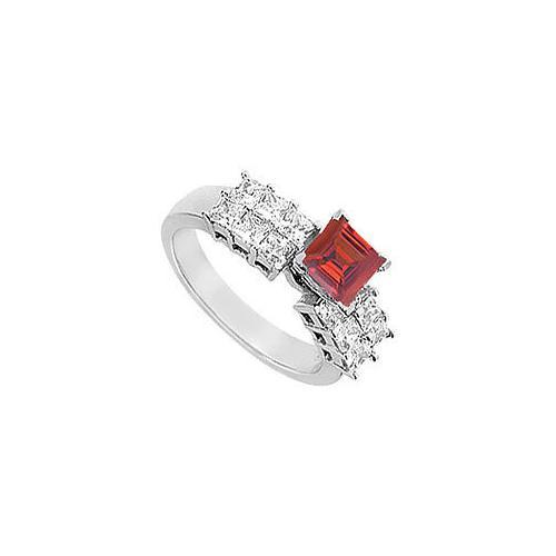 Ruby and Diamond Engagement Ring : 14K White gold - 1.75 CT TGW