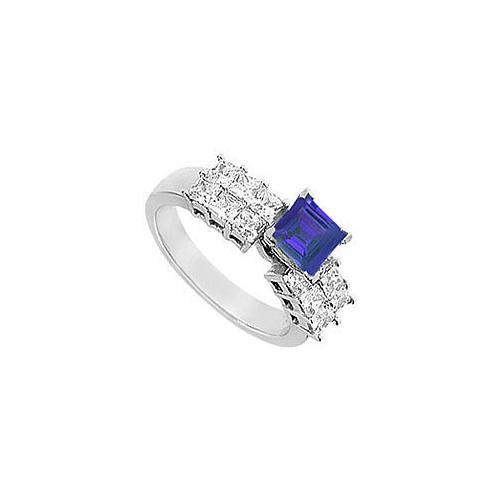 Sapphire and Diamond Engagement Ring : 14K White Gold - 1.75 CT TGW