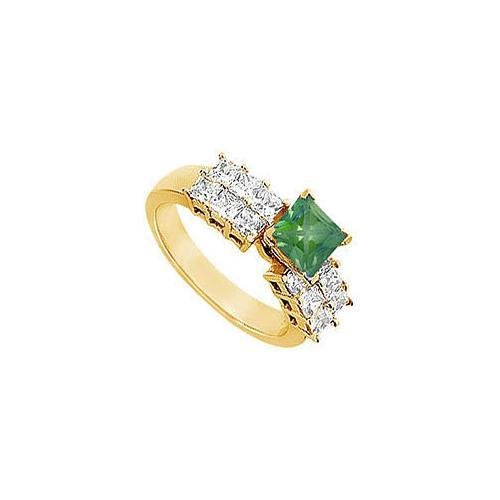 Emerald and Diamond Engagement Ring : 14K Yellow gold - 1.75 CT TGW