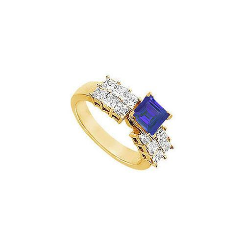 Sapphire and Diamond Engagement Ring : 14K Yellow Gold - 1.75 CT TGW