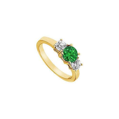 Emerald and Diamond Engagement Ring : 14K Yellow Gold - 1.25 CT TGW