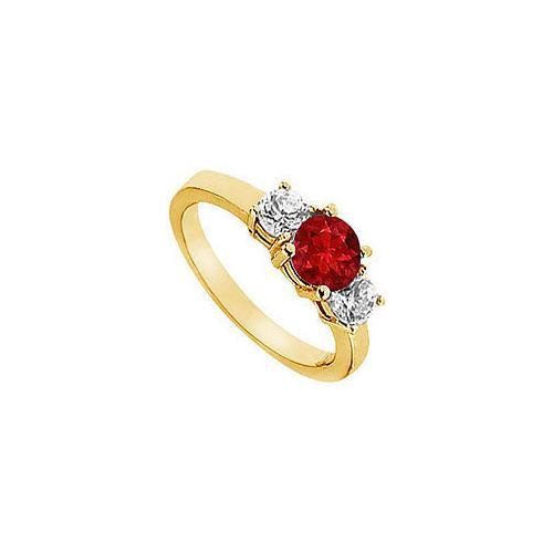 Ruby and Diamond Engagement Ring : 14K Yellow Gold - 1.25 CT TGW