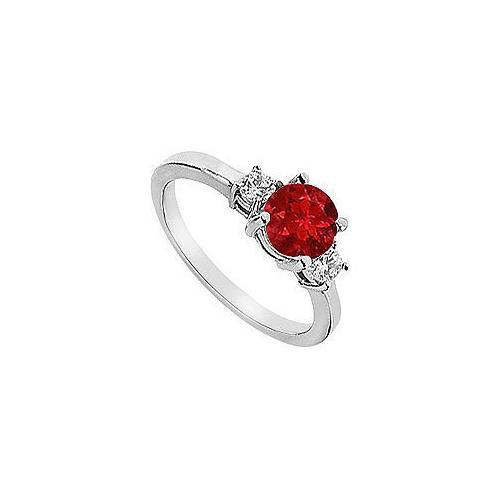 Ruby and Diamond Engagement Ring : 14K White Gold - 1.25 CT TGW