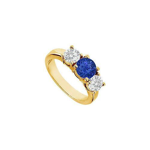 Sapphire and Diamond Engagement Ring : 14K Yellow Gold - 2.00 CT TGW