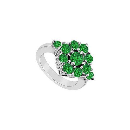 Emerald Ring : 14K White Gold - 1.50 CT TGW