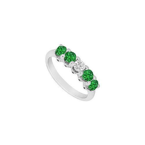 Emerald and Diamond Wedding Band : 14K White Gold - 1.55 CT TGW