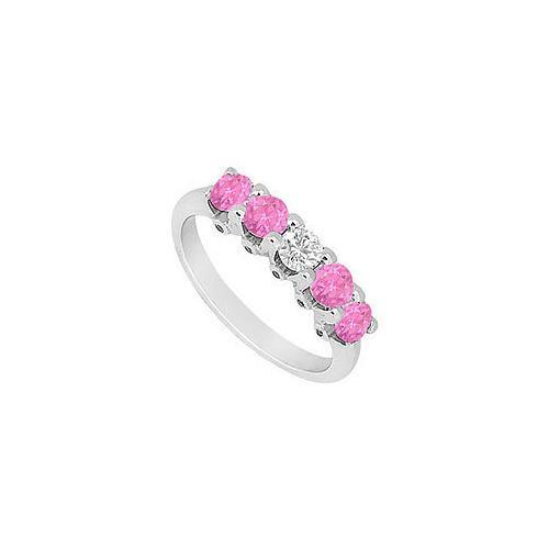 Pink Sapphire and Diamond Wedding Band : 14K White Gold - 1.55 CT TGW