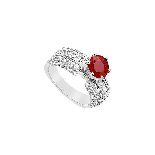 Ruby and Diamond Engagement Ring : 14K White Gold - 3.25 CT TGW
