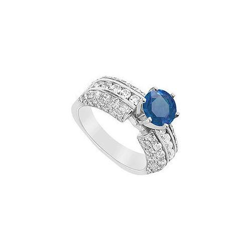 Sapphire and Diamond Engagement Ring : 14K White Gold - 3.25 CT TGW