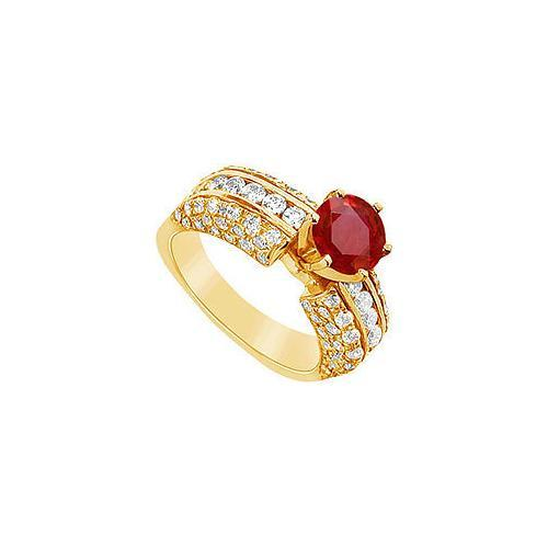 Ruby and Diamond Engagement Ring : 14K Yellow Gold - 3.25 CT TGW