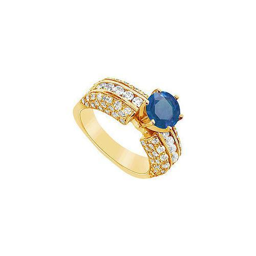 Sapphire and Diamond Engagement Ring : 14K Yellow Gold - 3.25 CT TGW