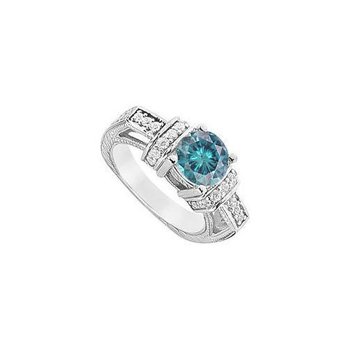 Blue Diamond Engagement Ring : 14K White Gold - 1.50 CT Diamonds